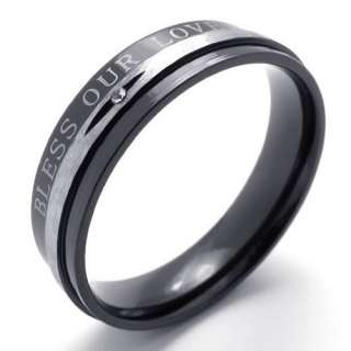 Mens Womens Silver Black LOVE Stainless Steel Ring Size 7,8,9,10,11