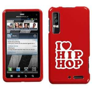 XT862 WHITE I LOVE HIP HOP ON RED HARD CASE COVER