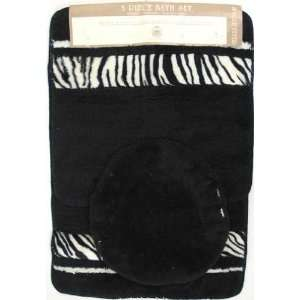 3 PC SET JUNGLE FEVER ZEBRA Bathroom Mat Rug Set