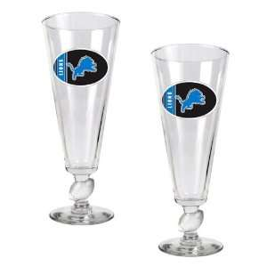 Detroit Lions NFL 2pc Pilsner Glass Set with Football on