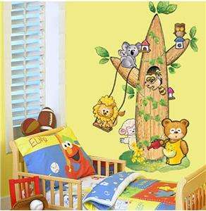 ANIMALS TREE & SWING Wall Art Kids Decal NURSERY Mural Paper Sticker