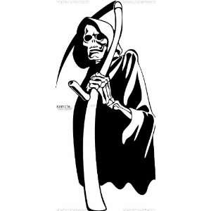 EVIL GRIM REAPER SKULL WHITE VINYL DECAL STICKER