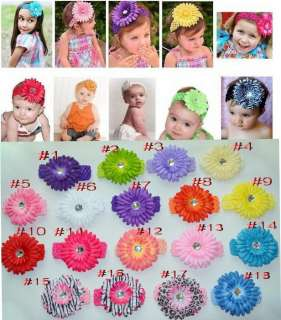 lots hair accessories baby girl Crochet Headbands with acrylic Daisy