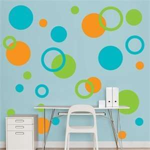 Fathead Orange Green Turquoise Polka Dots Arts, Crafts