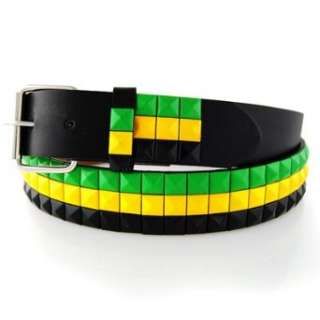 JAMAICAN COLORS STUDDED LEATHER SNAP BELT WITH REMOVABLE