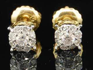 14K MENS LADIES YELLOW GOLD 1/4 CT SOLITAIRE LOOK ROUND DIAMOND STUDS