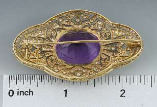 STUNNING 18K YELLOW GOLD AMETHYST & DIAMOND BROOCH PIN