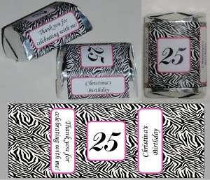30 ZEBRA PRINT BIRTHDAY PARTY CANDY WRAPPERS FAVORS