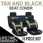 13pc Set Tan Black Auto Car Seat Covers FREE Steering Wheel Belt Pads