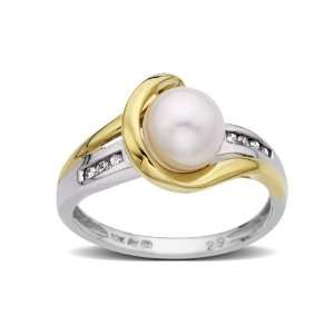 Freshwater Pearl Ring in 14K Two Tone Gold with Diamonds Jewelry