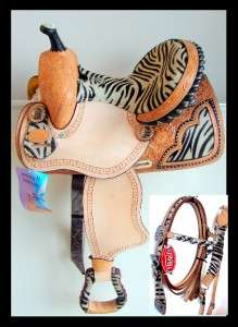 12 DOUBLE T ZEBRA NATURAL LEATHER Western Trail Barrel Racer Saddle