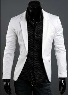 Men's Casual Slim Stylish fit One Button Suit Blazer Coat Jacket