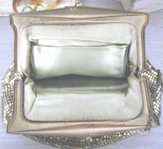Vintage 30s ART DECO Whiting & Davis GOLD MESH w Flat Bottom Purse
