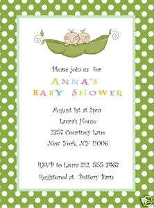 Sweet Pea in a pod Twin Baby Shower invitation  TWINS