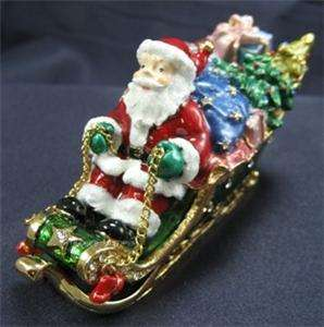Swarovski Crystal Bejeweled Santa Claus in Sleigh Trinket Box