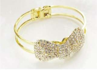 Quality Jewelry Gold Plated Crystal Bow Bowknot Bracelet Bangle