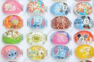 jewelry Mix lot 100X Cartoon Resin Lucite kids Rings