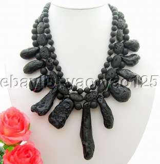 3Strds Black Jasper&Black Volcano lava Necklace