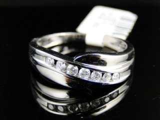 MENS WHITE GOLD GENUINE DIAMOND WEDDING BAND RING 1/4CT