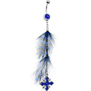Devoted To Blue Cross Feather Belly Ring Jewelry