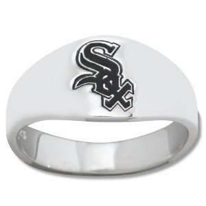 White Sox Mens Sterling Silver Cigar Band Ring
