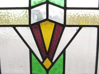 Antique Stained Glass Window Four color Art Deco Purple Burst