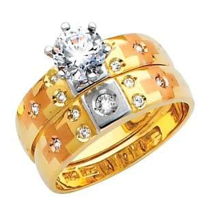 14K 3 Tri color Gold Round Cut CZ Cubic Zirconia Solitaire