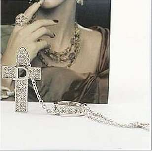 Jewelry Womens Crystal D Letters Cross Ring Necklace Chain