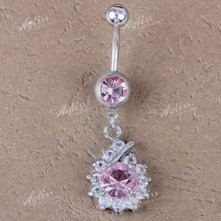 14ga Pink Crystal Glass Dangle Steel Belly Navel Ring