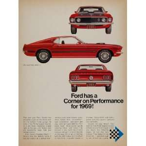 1969 Ad Red Ford Mustang Mach 1 Performance Corner Car