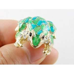 Gold Tone Toad Cute Frog Enamel Green Blue Painted Crystal