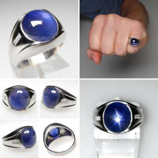 Vintage Mens Burmese Star Sapphire & Diamond Ring Solid Platinum