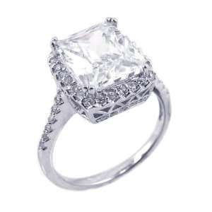 Sterling Silver Antique Square CZ Ring Size 8 Jewelry