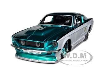 1967 FORD MUSTANG GT TEAL/WHITE CUSTOM 124 DIECAST MODEL CAR BY