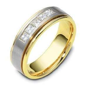14 Karat Two Tone Gold Channel Set Diamond Wedding Band