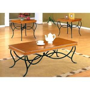 Side/End Tables Set in Medium Oak Wood Finish and Black Wrought Iron