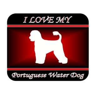 I Love My Portuguese Water Dog Mouse Pad   Red Design