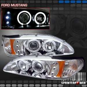Ford Mustang Headlights Chrome Blue Halo Pro Headlights Amber 1994