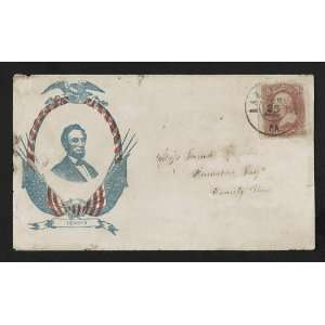 Civil War envelope,Abraham Lincoln,eagle,American flags,1861