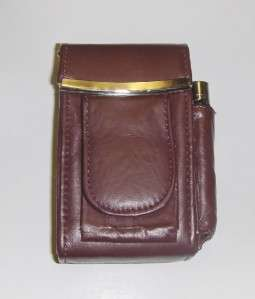 Genuine Leather Hard Cigarette Case Flip Top   BURGUNDY/WINE