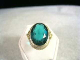 LARGE 14K WHITE & YELLOW GOLD FILIGREE OVAL FACETED GREEN STONE RING