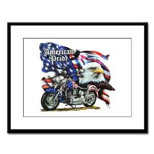 Large Framed Print American Pride US Flag Motorcycle and