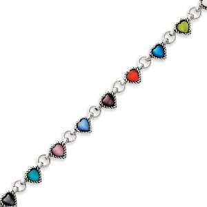 Sterling Silver Antiqued Multicolored Hearts Cats Eye