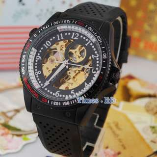 New Fashion Wrist Watch Automatic Mechanical Rubber Gold Skeleton Mens