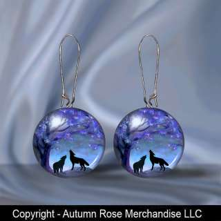 Wolves Wolfs Moon Button Earrings Pierced Ears Picture Jewelry