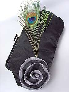 Black Satin Flower Bouquet Peacock Feather Clutch Evening Purse Bag