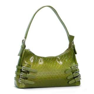Snake Skin Embossed Lady Purse Handbag Green