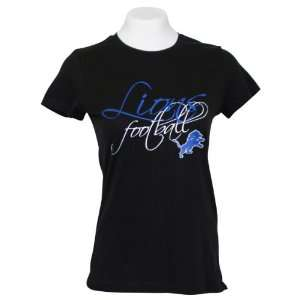 Detroit Lions Womens Script NFL T Shirt   Medium Sports