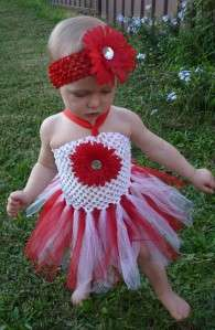 Beautiful Baby Girl Red & White Tutu Dress