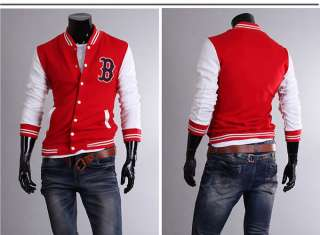 Stylish Slim Fit Mens Baseball Sports Jackets Coats 3 Colors 4 US Size